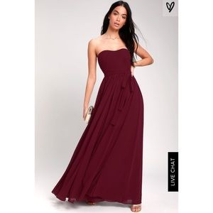 NEW! BE IN LOVE BURGUNDY STRAPLESS MAXI DRESS